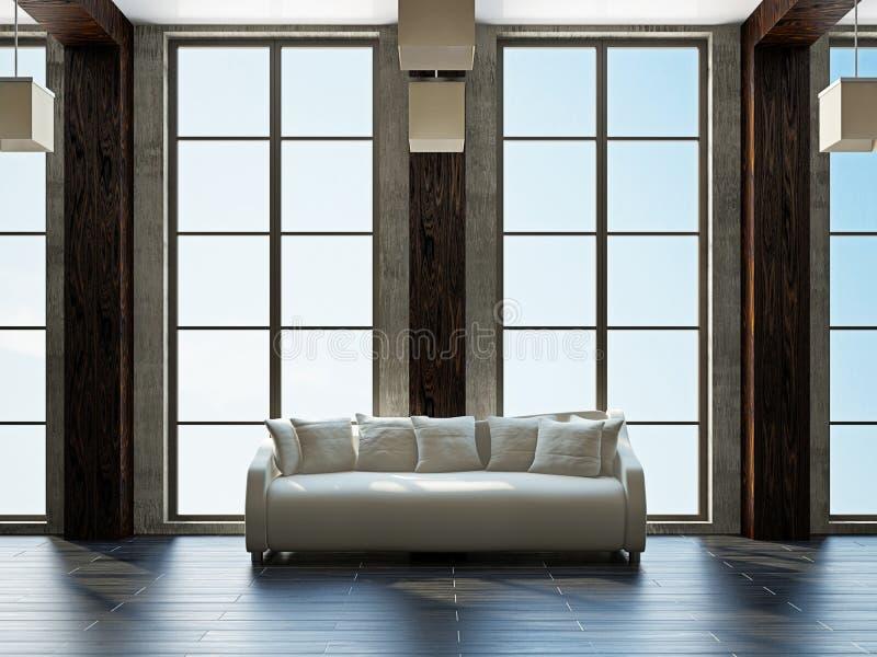Livingroom med möblemang vektor illustrationer