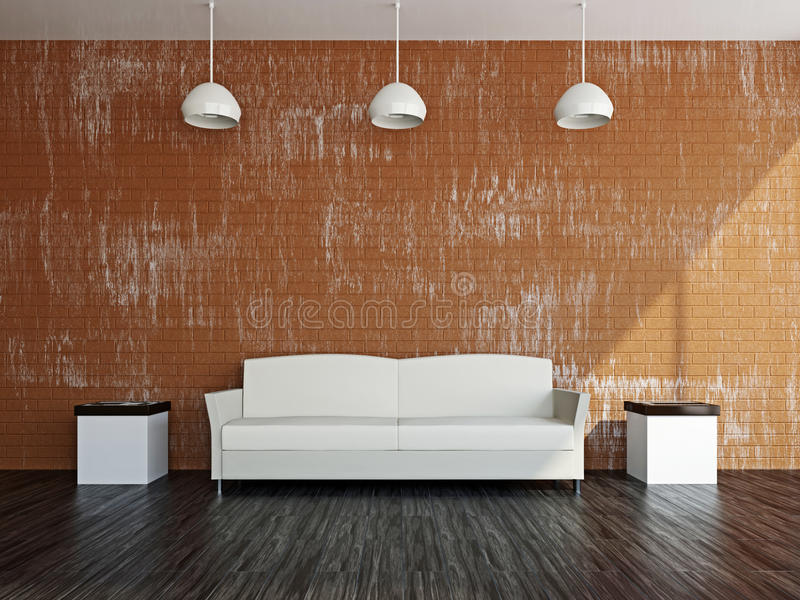 Livingroom med vitsofaen royaltyfri foto