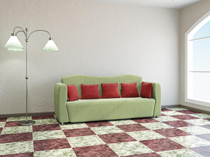 Download Livingroom  with sofa stock illustration. Illustration of nobody - 32168061