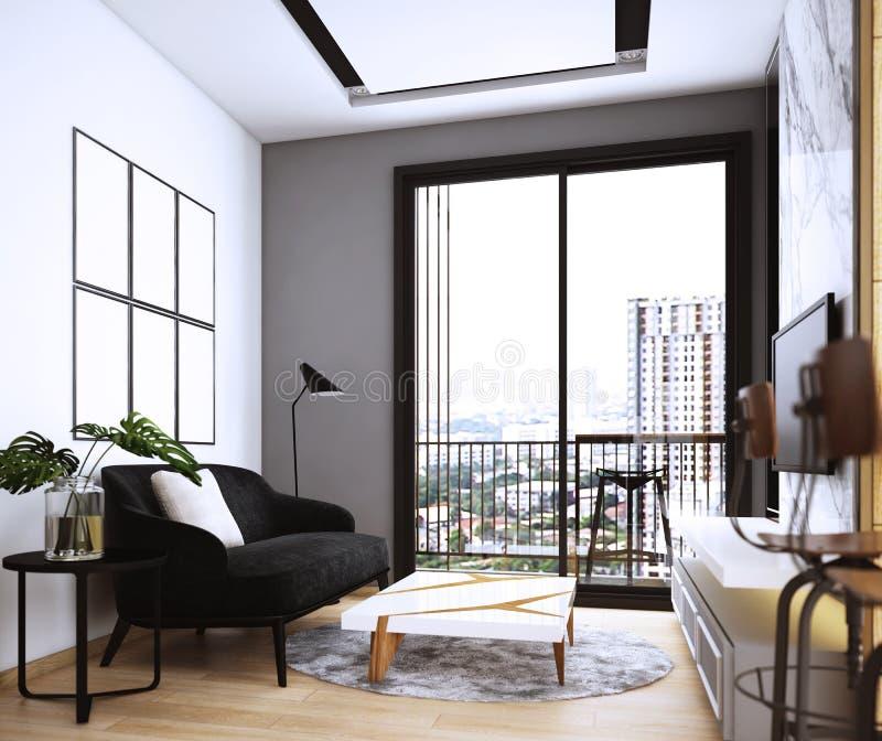 Livingroomdesign, inre av modern hemtrevlig stil stock illustrationer