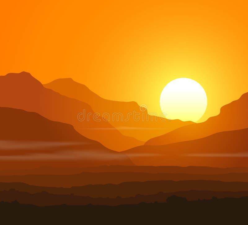 Livlöst landskap med enorma berg på solnedgången royaltyfri illustrationer