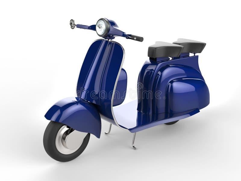 Livlig blå sparkcykel för gammal stil stock illustrationer