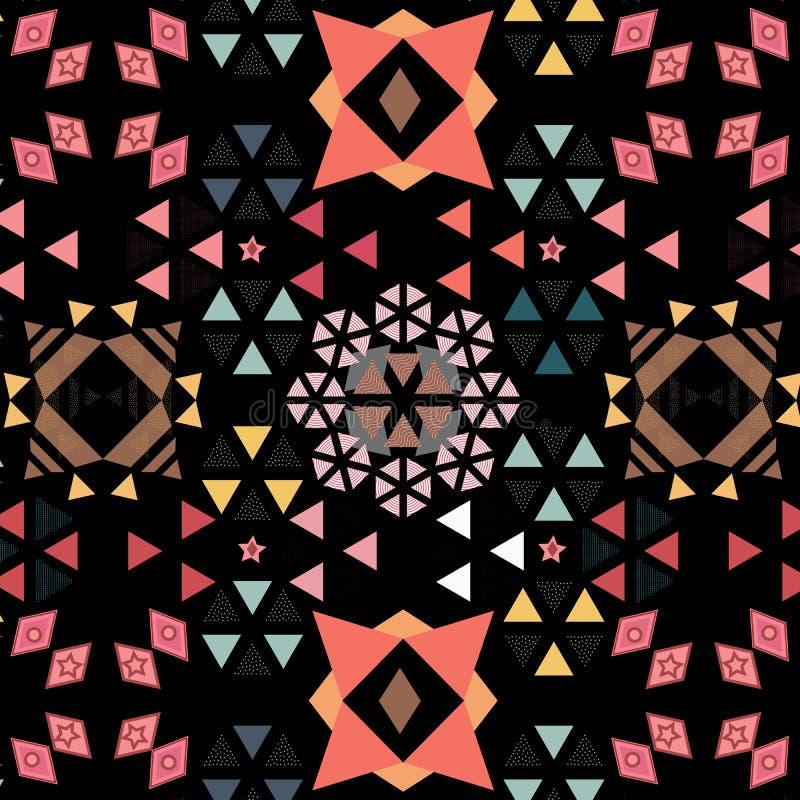 Livlig dekorerad geometrisk sömlös modell av trianglar, sexhörningar och diamanter över svart bakgrund vektor illustrationer