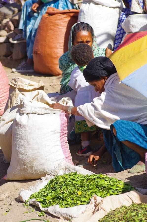 Livlig ethiopian marknad arkivbilder