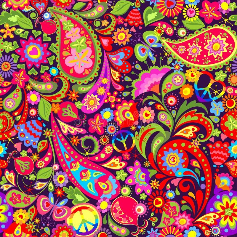 Livlig färgrik tapet för hippie med abstrakta blommor, hippiefredsymbol, fjärilen, granatäpplet och paisley stock illustrationer