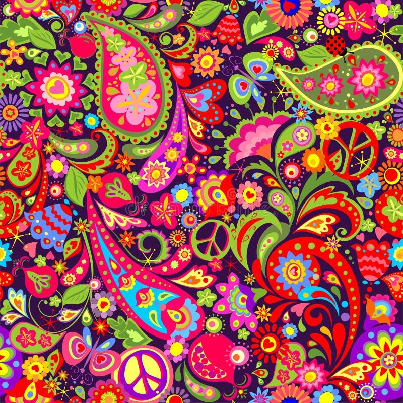Livlig färgrik tapet för hippie med abstrakta blommor, hippiefredsymbol, fjärilen, nyckelpigan, granatäpplet och paisley stock illustrationer