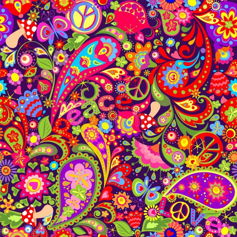 Livlig färgrik tapet för hippie med abstrakta blommor, hippiefredsymbol, fred- och förälskelseord, champinjoner, granatäpple och  royaltyfri illustrationer
