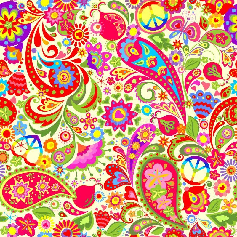 Livlig färgrik tapet för hippie med abstrakta blommor, hippiefredsymbol, fred- och förälskelseord, champinjoner, granatäpple och  stock illustrationer