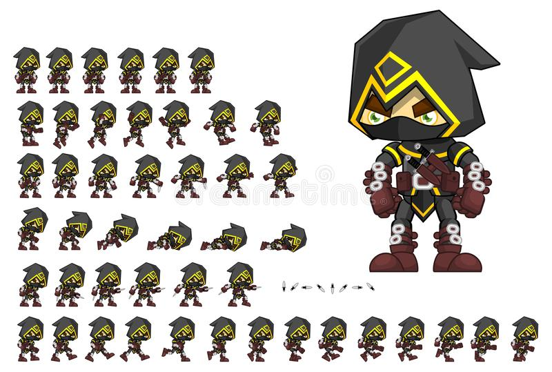 Livlig mördare Character Sprites vektor illustrationer