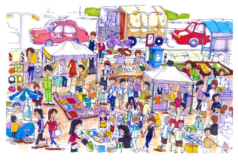 Livlig och färgrik loppmarknad i Asien royaltyfri illustrationer