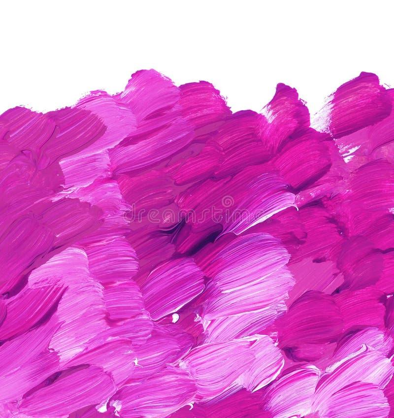 Livlig rosa slaglängd för akrylmålarfärgborste för bakgrund arkivfoto
