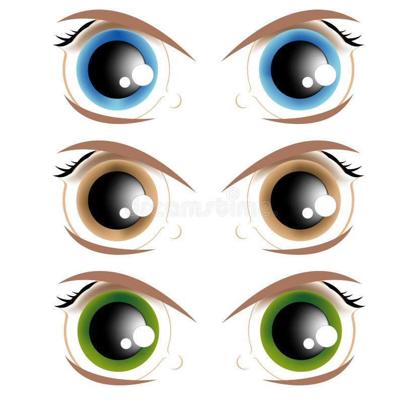 livliga ögon vektor illustrationer
