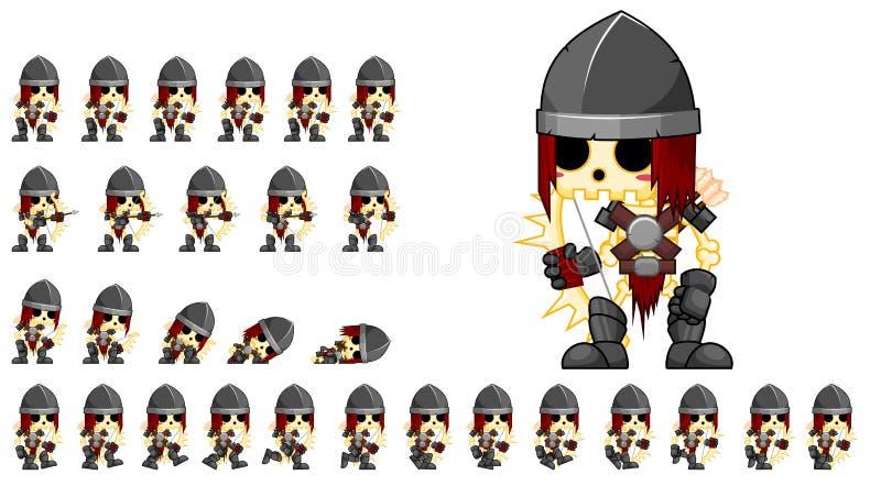 Livliga skelett- Archer Character Sprites vektor illustrationer