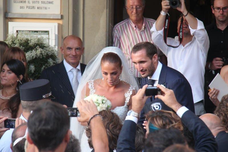 Livorno, Huwelijk Giorgio Chiellini en Carolina Bonistalli stock afbeeldingen