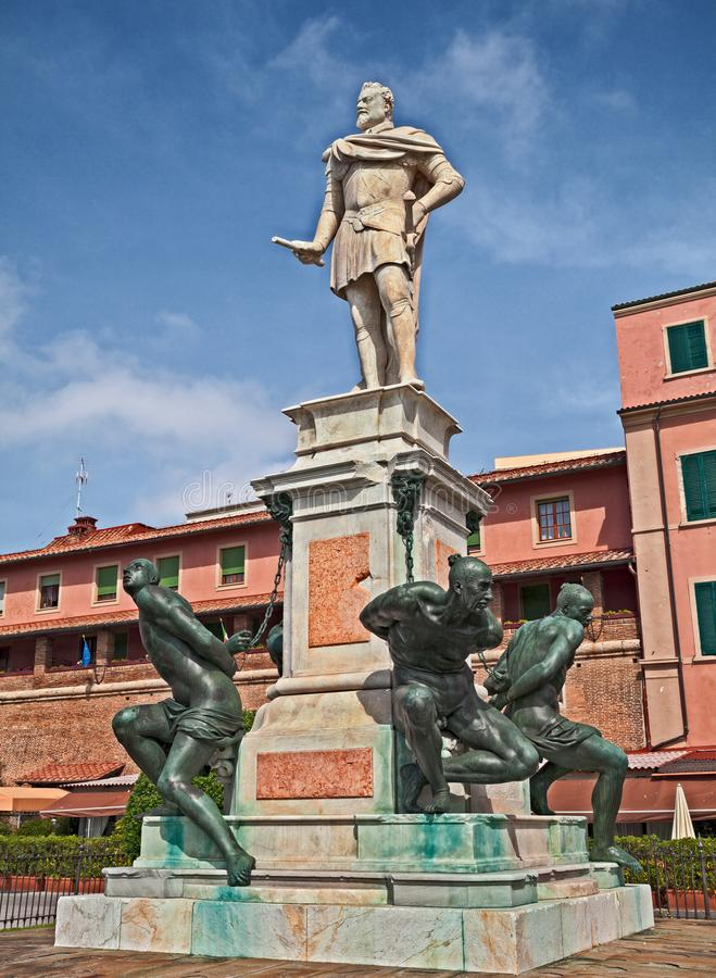 Livorno, Tuscany, Italy: the Monument of the Four Moors to commemorate the victory over the Ottomans pirates. Livorno, Tuscany, Italy: the ancient Monument of royalty free stock photography