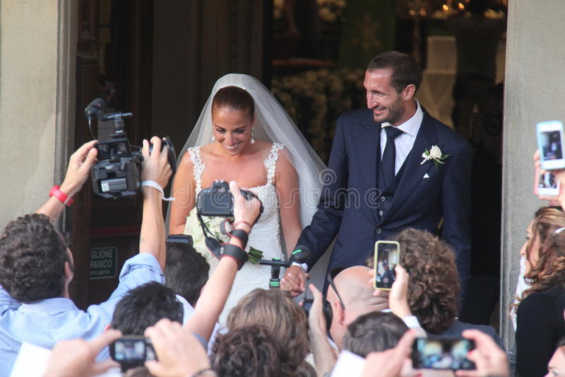 Livorno, união Giorgio Chiellini e Carolina Bonistalli fotografia de stock royalty free