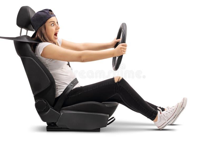 Livrädd tonårs- flicka som kör och bryter royaltyfri fotografi