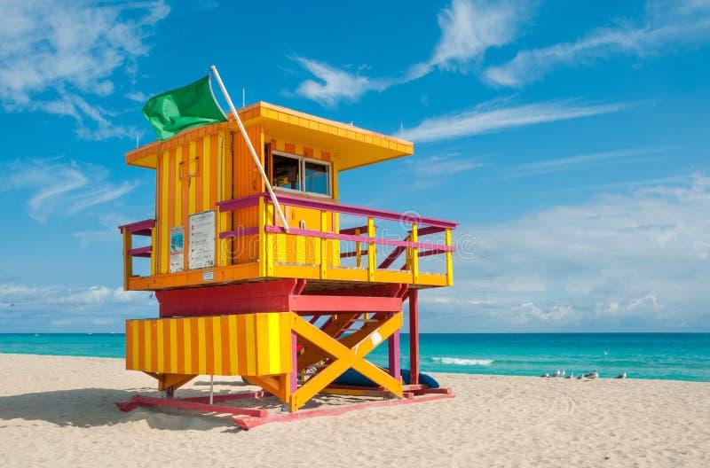 Livräddare Tower i den södra stranden, Miami Beach, Florida arkivfoto