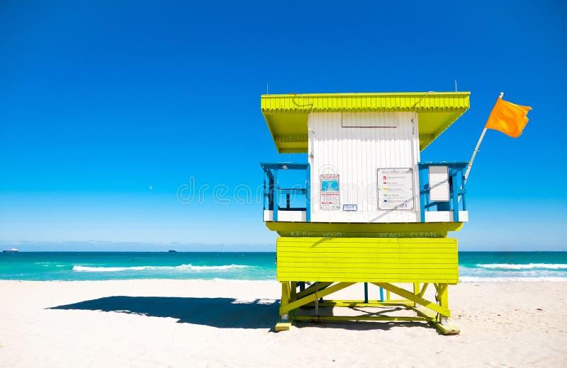 Livräddaren står hög i Miami Beach, USA arkivbild