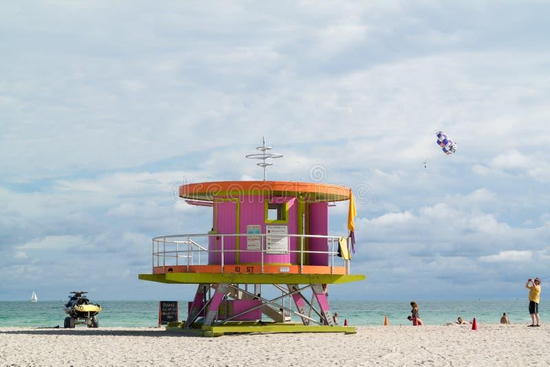 Livräddarestation Miami Beach royaltyfri fotografi
