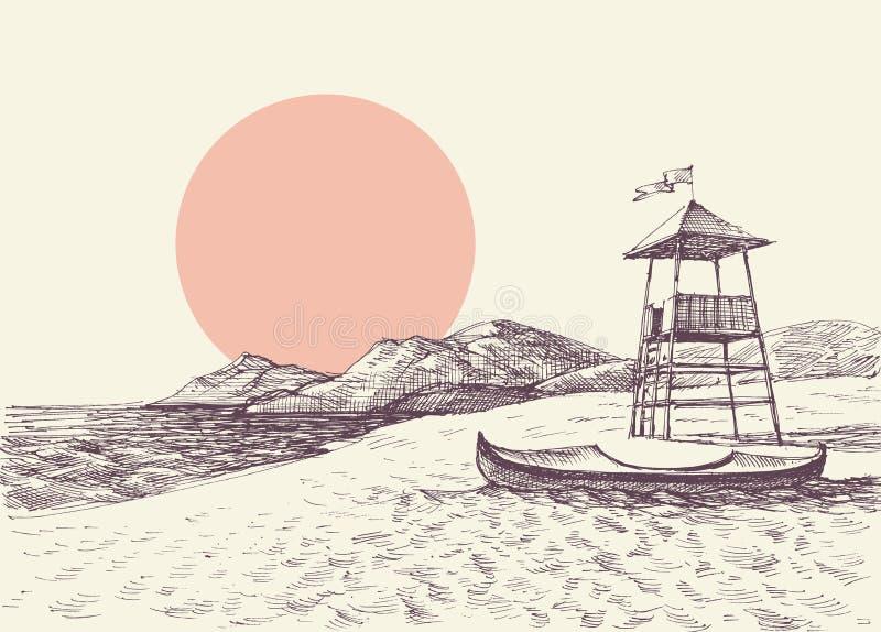 Livräddaretorn på strandteckningen royaltyfri illustrationer