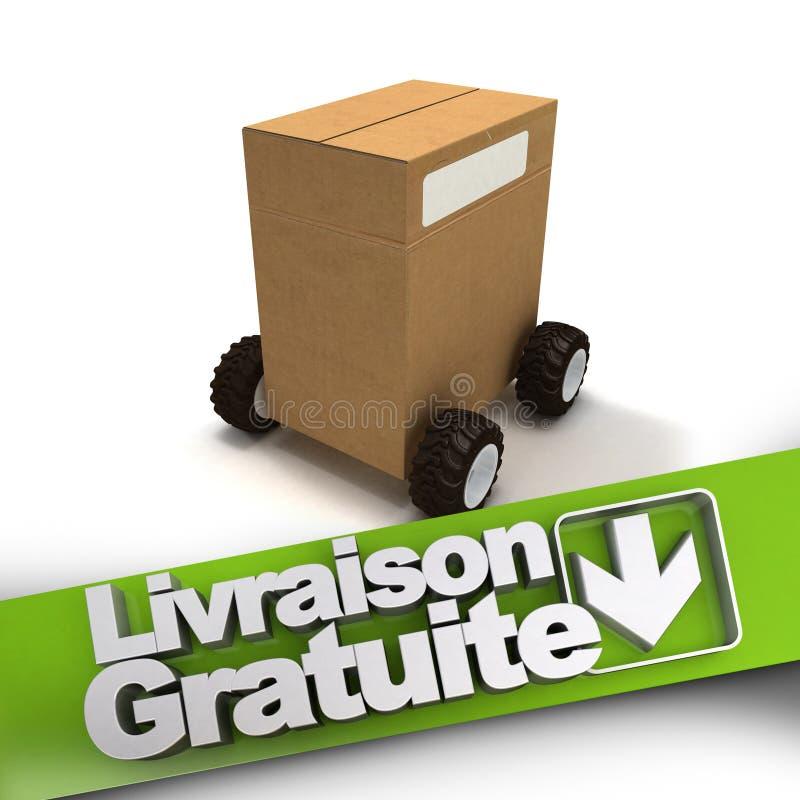 Livraison gratuite, pudełko na kołach ilustracji