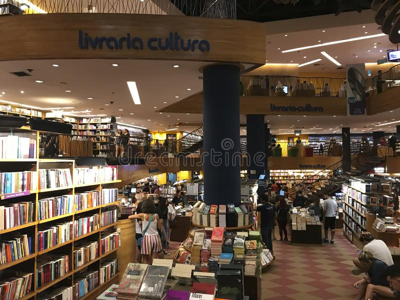 Livraria Cultura, traditionele boekhandel in de stad van Sao Paulo stock foto's