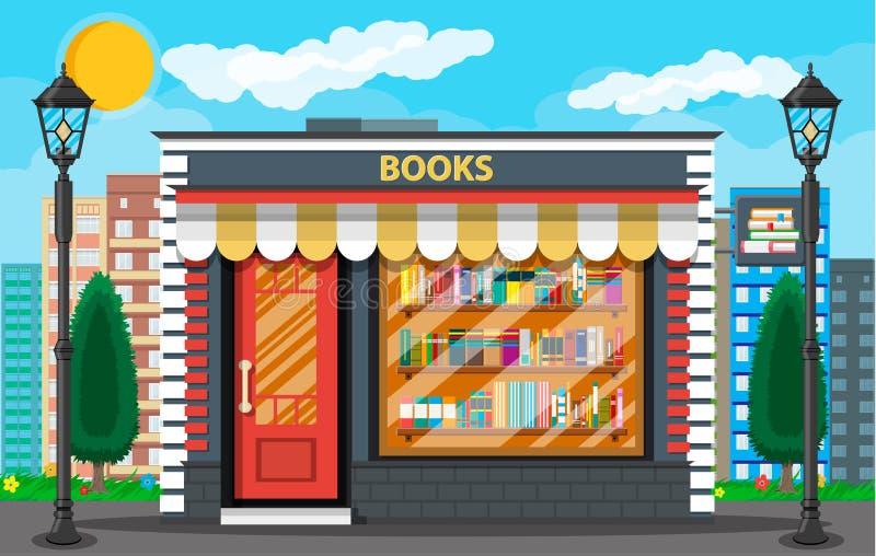 Livrarias ou construção e arquitetura da cidade de loja ilustração stock