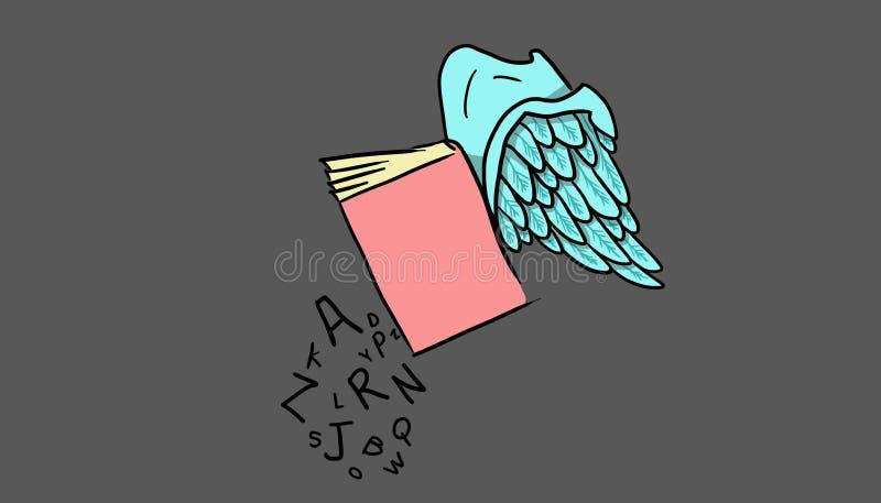 Livre avec des ailes et des lettres, illustration illustration de vecteur