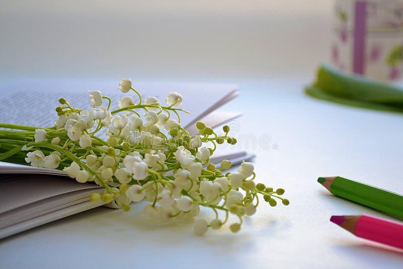 Livre avec des fleurs images stock