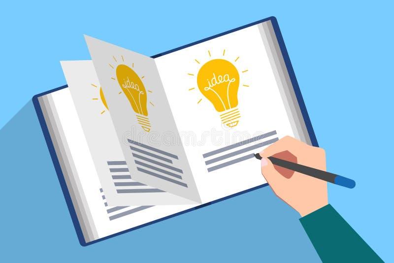 Livre avec des idées Inscription de la nouvelle idée illustration de vecteur