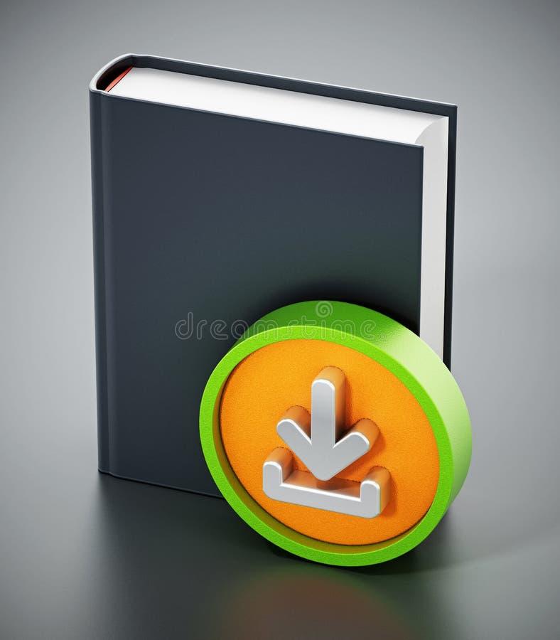 Livre avec l'icône de flèche de téléchargement illustration 3D illustration libre de droits