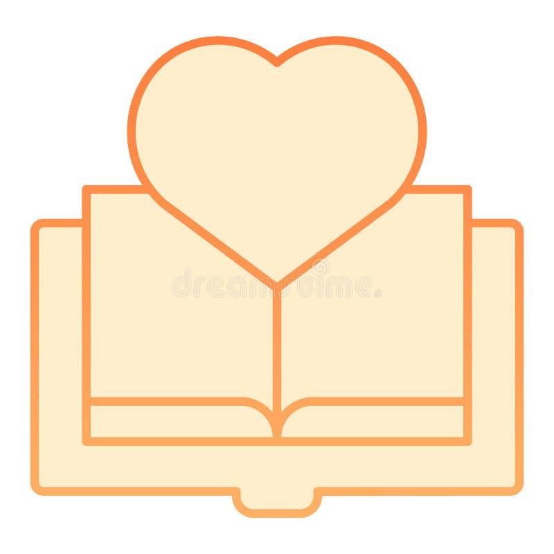 Livre avec l'icône plate de coeur Icônes oranges de livre préféré dans le style plat à la mode Conception de lecture de style de  illustration libre de droits