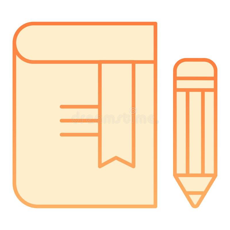 Livre avec l'icône plate de crayon Icônes oranges de repère dans le style plat à la mode Conception de style de gradient de la co illustration libre de droits
