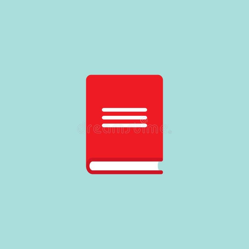 Livre avec la couverture rouge d'isolement sur le fond bleu Icône plate de lecture illustration libre de droits