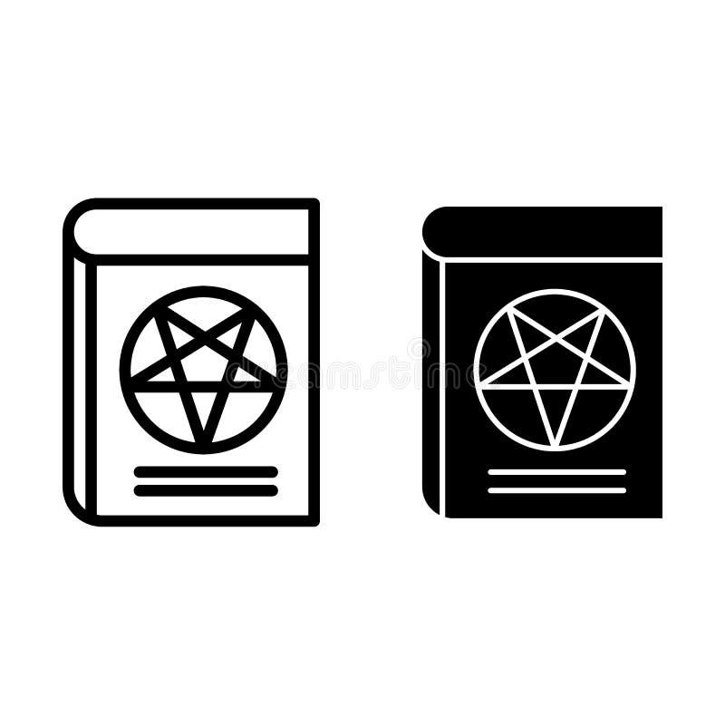 Livre avec la ligne de pentagone étoilé et l'icône de glyph Illustration de vecteur de Web de livre de Satan d'isolement sur le b illustration libre de droits
