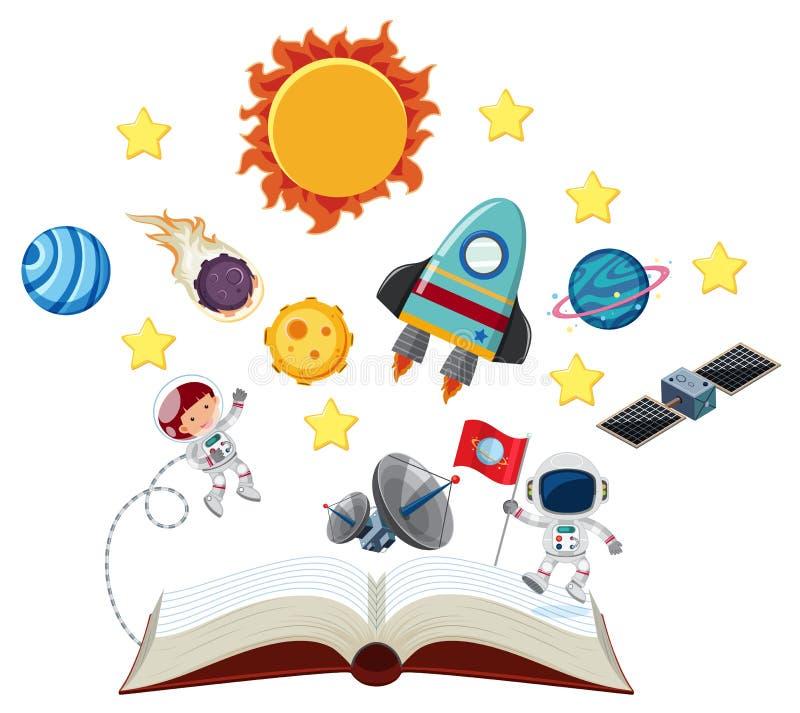 Livre avec les astronautes et le système solaire illustration libre de droits