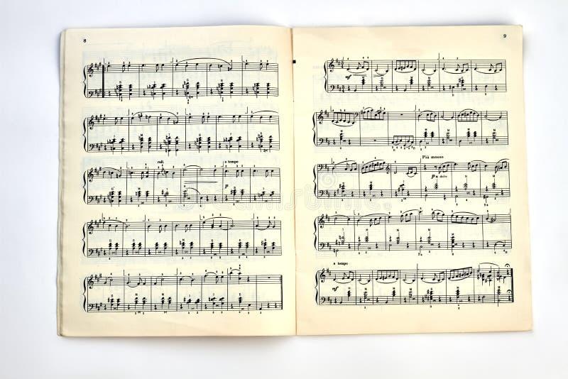 Livre avec les notes musicales photo stock