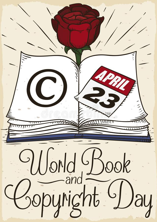 Livre avec Rose pour célébrer le jour de livre et de Copyright du monde, illustration de vecteur illustration de vecteur