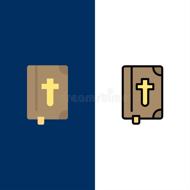 Livre, bible, Pâques, icônes de vacances L'appartement et la ligne icône remplie ont placé le fond bleu de vecteur illustration libre de droits