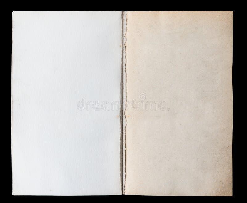 Livre blanc déplié sur les Endpapers images stock