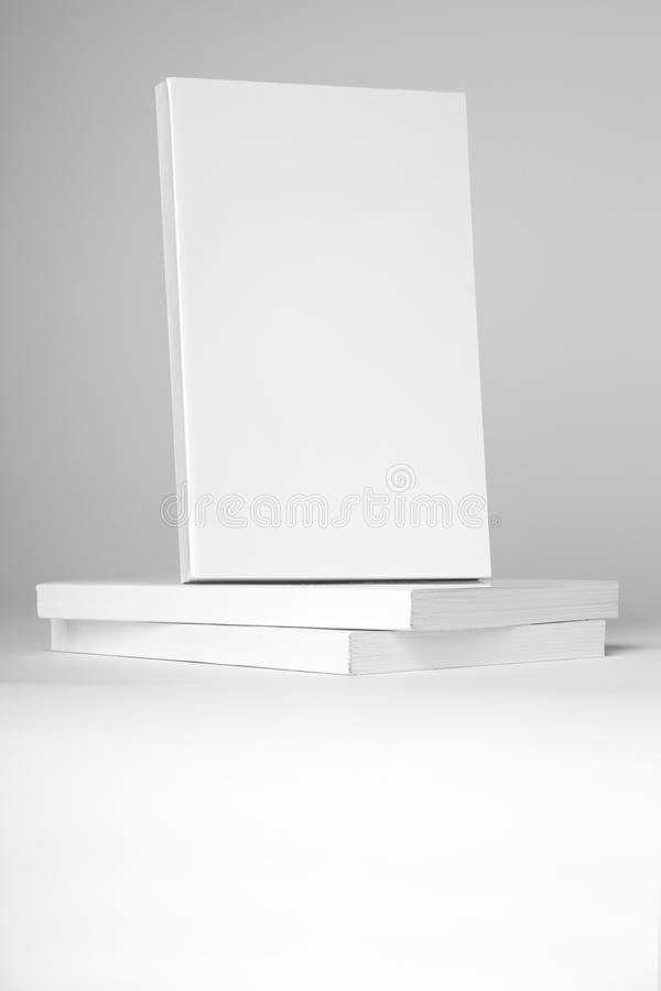 Livre blanc de vrai livre broché au-dessus d'une pile de livres sur un fond gris photographie stock
