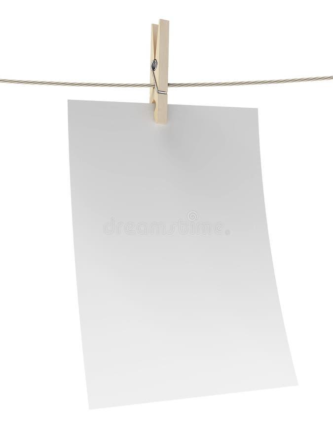 Livre blanc vide avec la pince à linge illustration stock