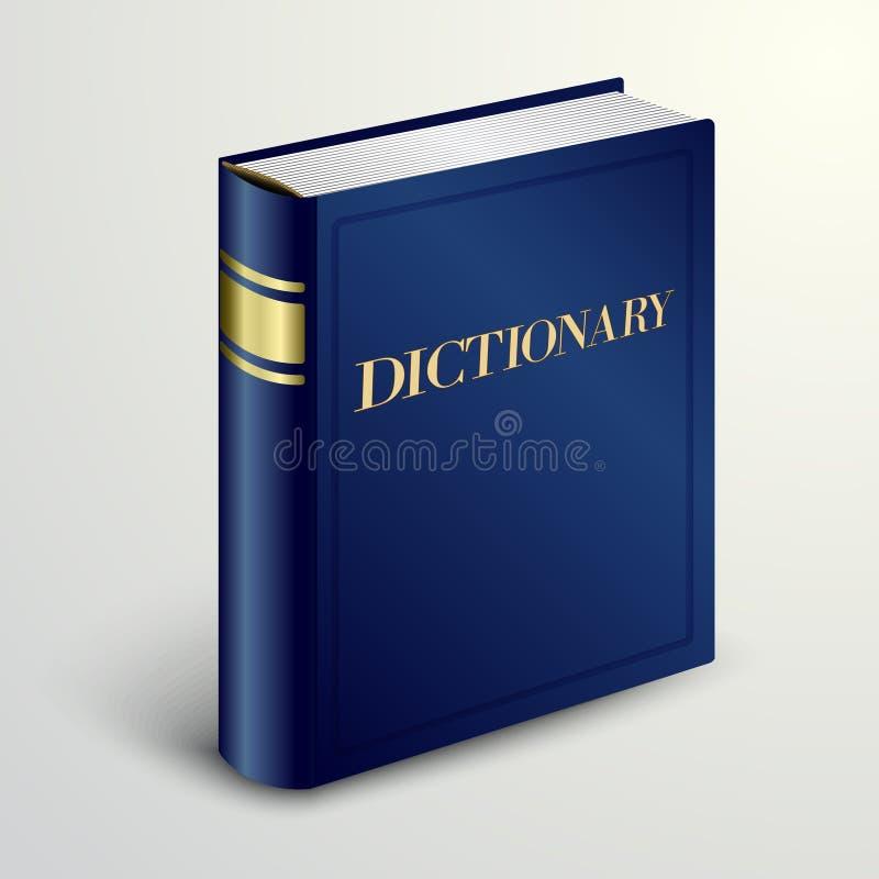 Livre bleu de dictionnaire de vecteur illustration stock