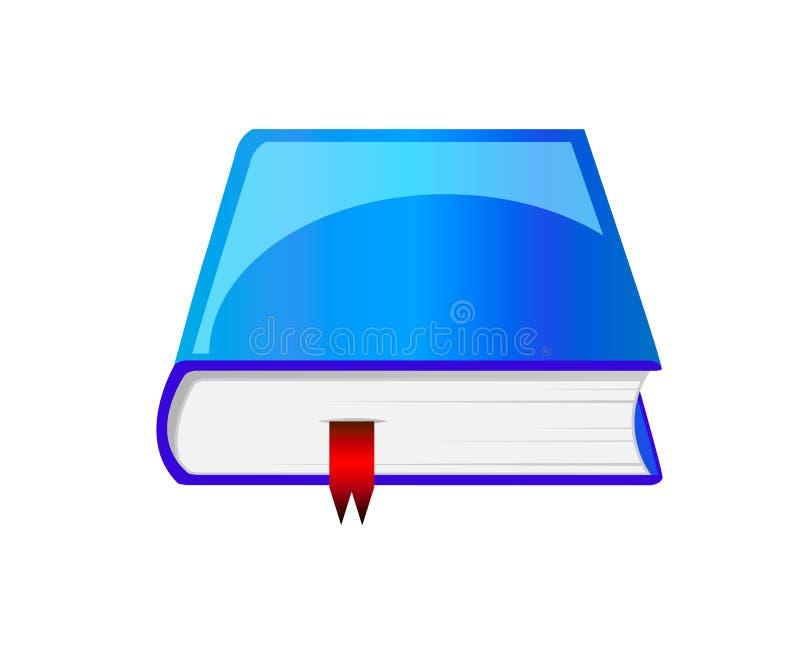 Livre bleu de vecteur avec le signet illustration stock