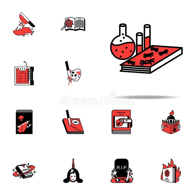 Livre, chimie, icône littéraire Ensemble universel d'icônes de genres littéraires pour le Web et le mobile illustration libre de droits