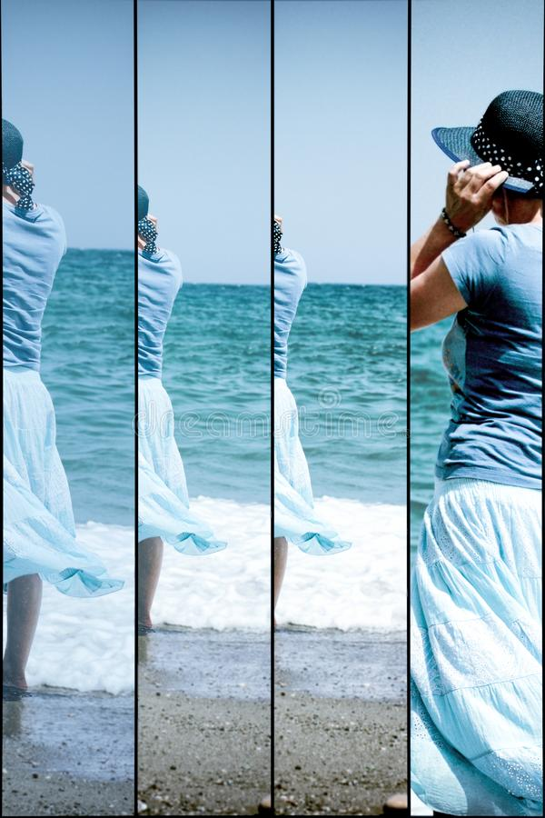 Livre circulação das mulheres - descanse, abrandamento na praia do mar fotos de stock royalty free