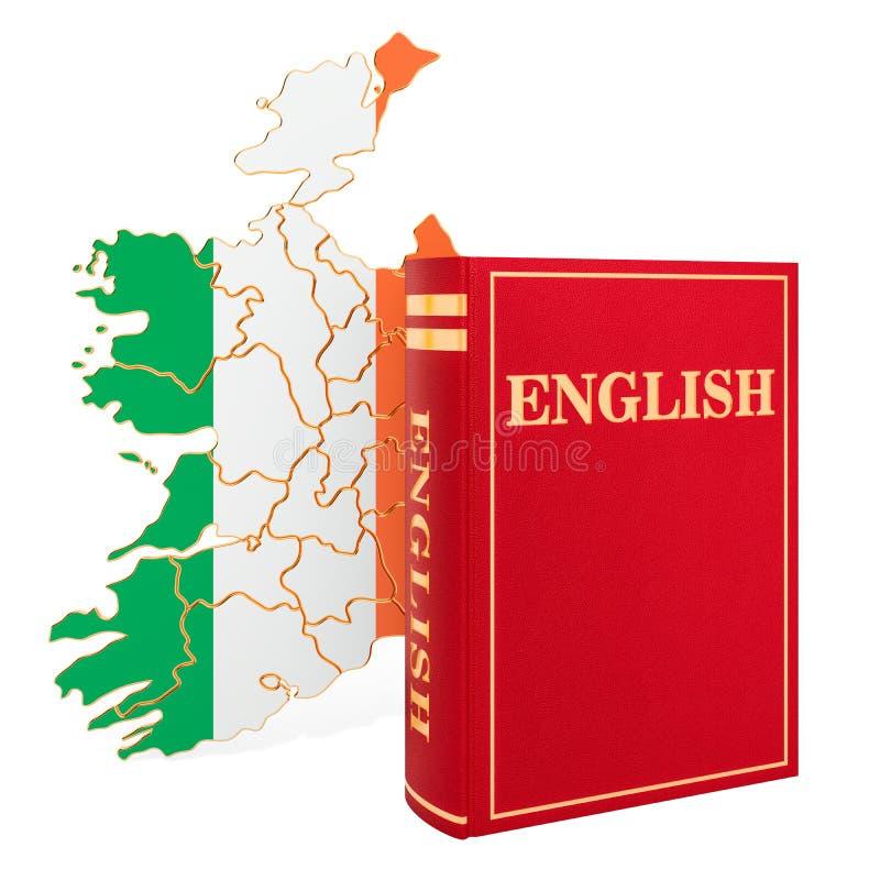 Livre d'anglais avec la carte de l'Irlande, rendu 3D illustration de vecteur