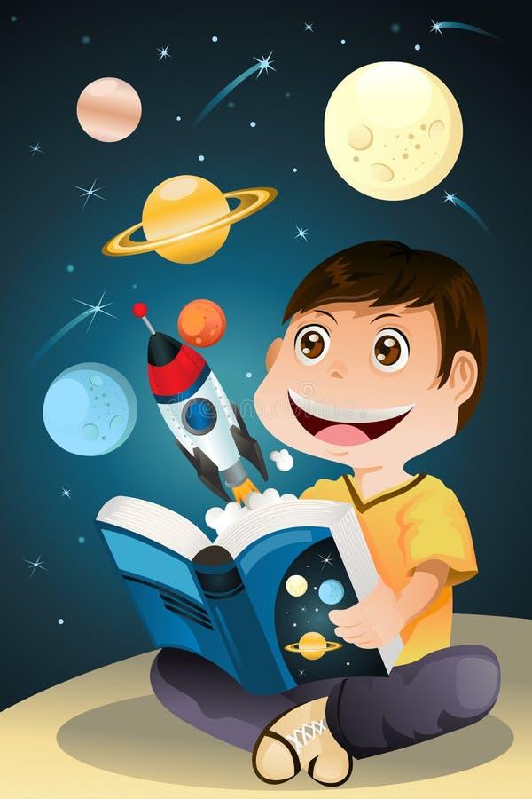 Livre d'astronomie du relevé de garçon illustration de vecteur