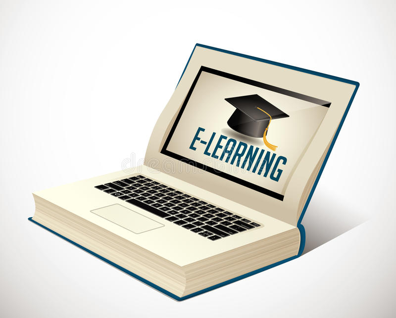 Livre d'elearning - étude d'Ebook illustration stock